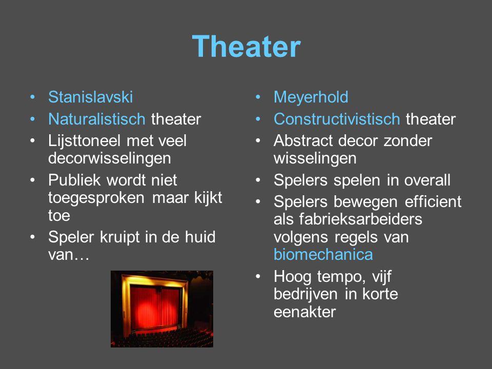 Theater Stanislavski Naturalistisch theater Lijsttoneel met veel decorwisselingen Publiek wordt niet toegesproken maar kijkt toe Speler kruipt in de h