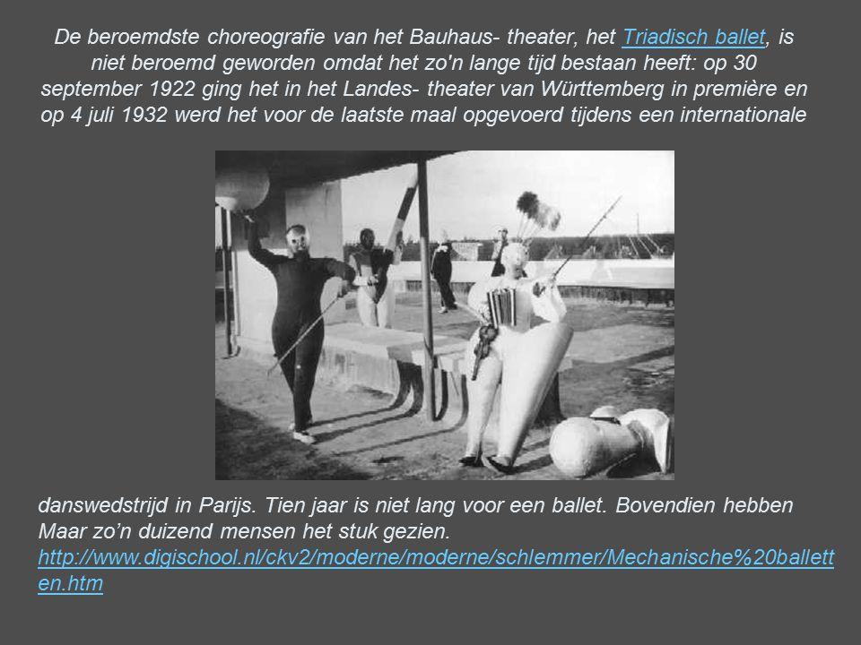 De beroemdste choreografie van het Bauhaus- theater, het Triadisch ballet, is niet beroemd geworden omdat het zo'n lange tijd bestaan heeft: op 30 sep