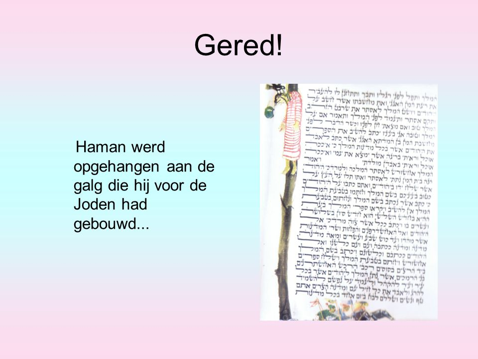 Gered! Haman werd opgehangen aan de galg die hij voor de Joden had gebouwd...