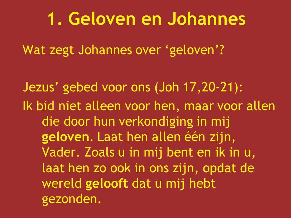 1.Geloven en Johannes Wat zegt Johannes over 'geloven'.