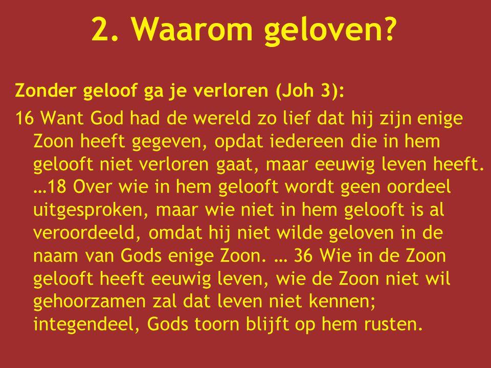 Zonder geloof ga je verloren (Joh 3): 16 Want God had de wereld zo lief dat hij zijn enige Zoon heeft gegeven, opdat iedereen die in hem gelooft niet verloren gaat, maar eeuwig leven heeft.