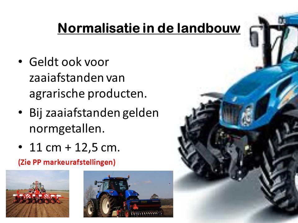 Normalisatie in de landbouw Geldt ook voor zaaiafstanden van agrarische producten. Bij zaaiafstanden gelden normgetallen. 11 cm + 12,5 cm. (Zie PP mar