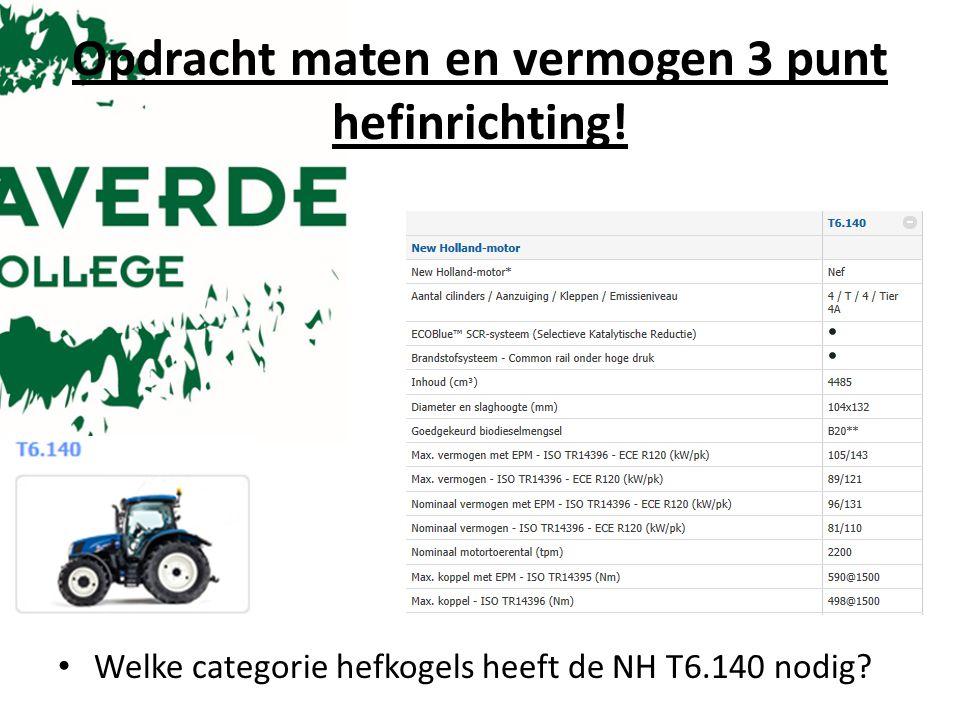 Opdracht maten en vermogen 3 punt hefinrichting! Welke categorie hefkogels heeft de NH T6.140 nodig?