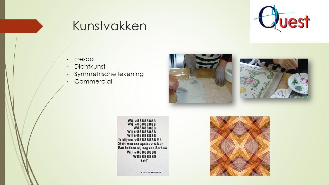 Kunstvakken -Fresco -Dichtkunst -Symmetrische tekening -Commercial