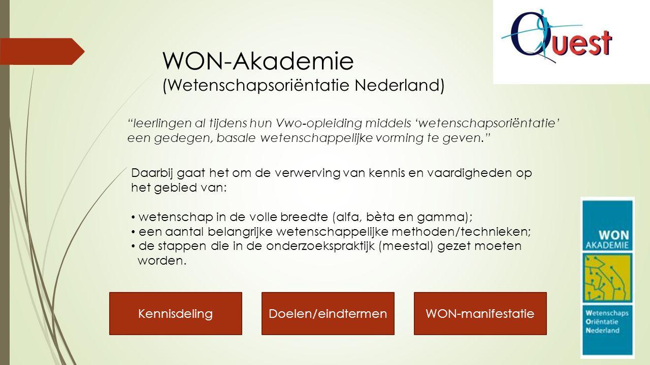 WON-Akademie (Wetenschapsoriëntatie Nederland) Daarbij gaat het om de verwerving van kennis en vaardigheden op het gebied van: wetenschap in de volle