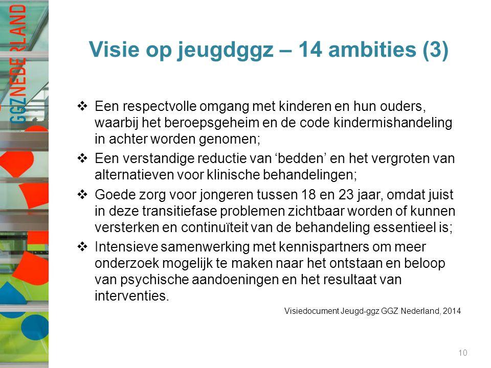 Visie op jeugdggz – 14 ambities (3)  Een respectvolle omgang met kinderen en hun ouders, waarbij het beroepsgeheim en de code kindermishandeling in achter worden genomen;  Een verstandige reductie van 'bedden' en het vergroten van alternatieven voor klinische behandelingen;  Goede zorg voor jongeren tussen 18 en 23 jaar, omdat juist in deze transitiefase problemen zichtbaar worden of kunnen versterken en continuïteit van de behandeling essentieel is;  Intensieve samenwerking met kennispartners om meer onderzoek mogelijk te maken naar het ontstaan en beloop van psychische aandoeningen en het resultaat van interventies.