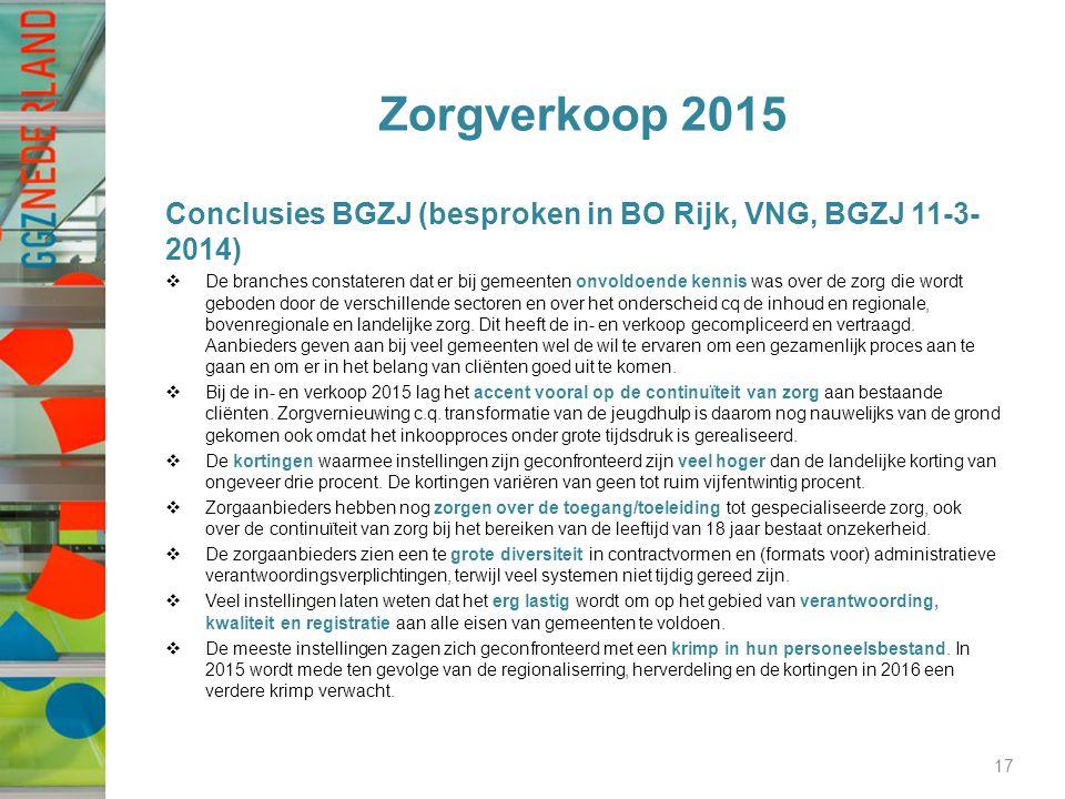 Zorgverkoop 2015 Conclusies BGZJ (besproken in BO Rijk, VNG, BGZJ 11-3- 2014)  De branches constateren dat er bij gemeenten onvoldoende kennis was over de zorg die wordt geboden door de verschillende sectoren en over het onderscheid cq de inhoud en regionale, bovenregionale en landelijke zorg.