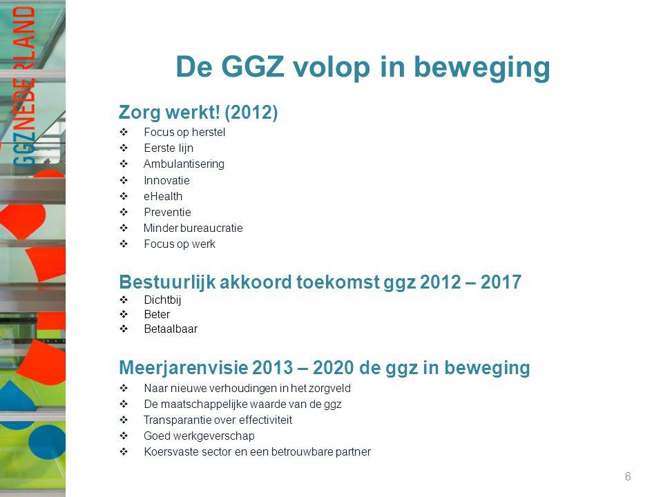 De GGZ volop in beweging Zorg werkt! (2012)  Focus op herstel  Eerste lijn  Ambulantisering  Innovatie  eHealth  Preventie  Minder bureaucratie