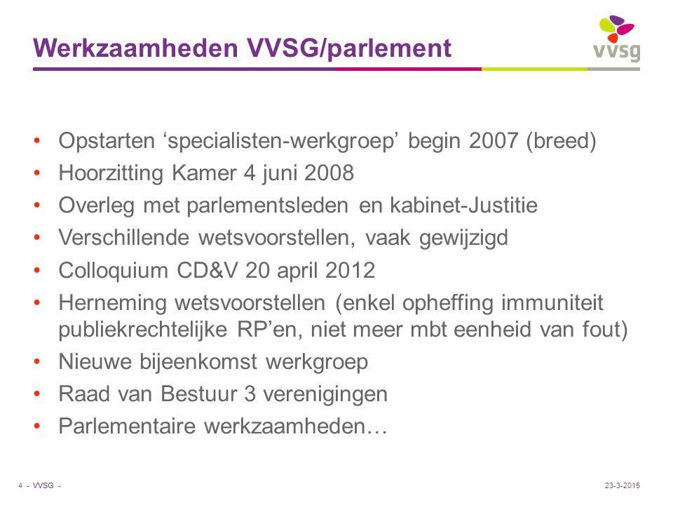 VVSG - Wetsvoorstellen Historiek Strafrechtelijke aansprakelijkheid publiekrechtelijke RP'en (wijziging art.