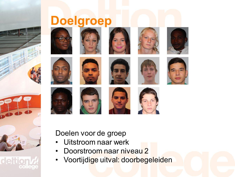 Doelgroep Doelen voor de groep Uitstroom naar werk Doorstroom naar niveau 2 Voortijdige uitval: doorbegeleiden