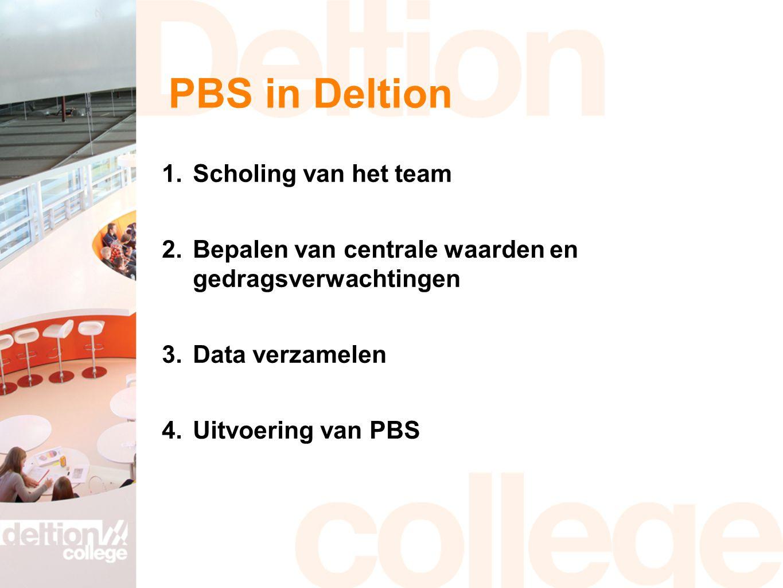 PBS in Deltion 1.Scholing van het team 2.Bepalen van centrale waarden en gedragsverwachtingen 3.Data verzamelen 4.Uitvoering van PBS