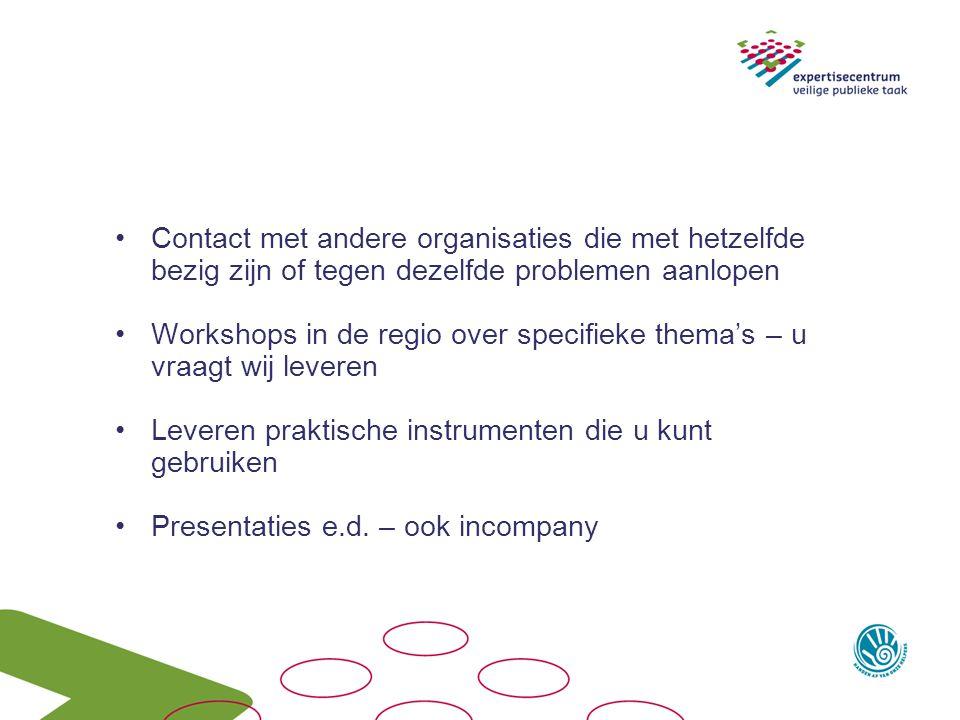 Contact met andere organisaties die met hetzelfde bezig zijn of tegen dezelfde problemen aanlopen Workshops in de regio over specifieke thema's – u vr