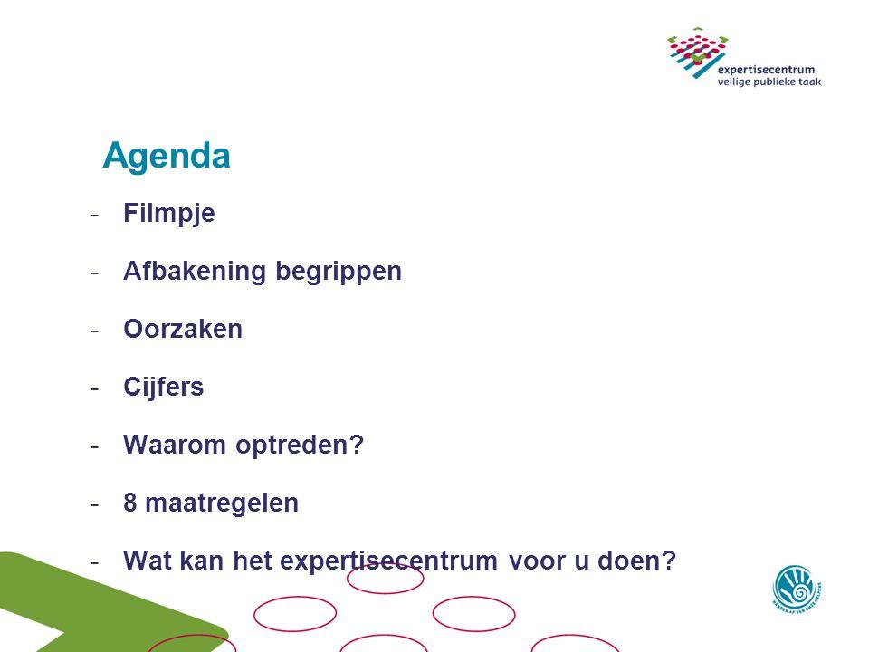 Agenda -Filmpje -Afbakening begrippen -Oorzaken -Cijfers -Waarom optreden? -8 maatregelen -Wat kan het expertisecentrum voor u doen?