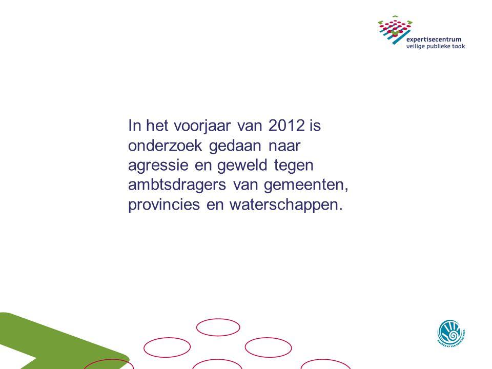 In het voorjaar van 2012 is onderzoek gedaan naar agressie en geweld tegen ambtsdragers van gemeenten, provincies en waterschappen.