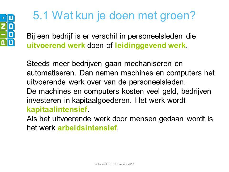 5.1 Wat kun je doen met groen? Bij een bedrijf is er verschil in personeelsleden die uitvoerend werk doen of leidinggevend werk. Steeds meer bedrijven