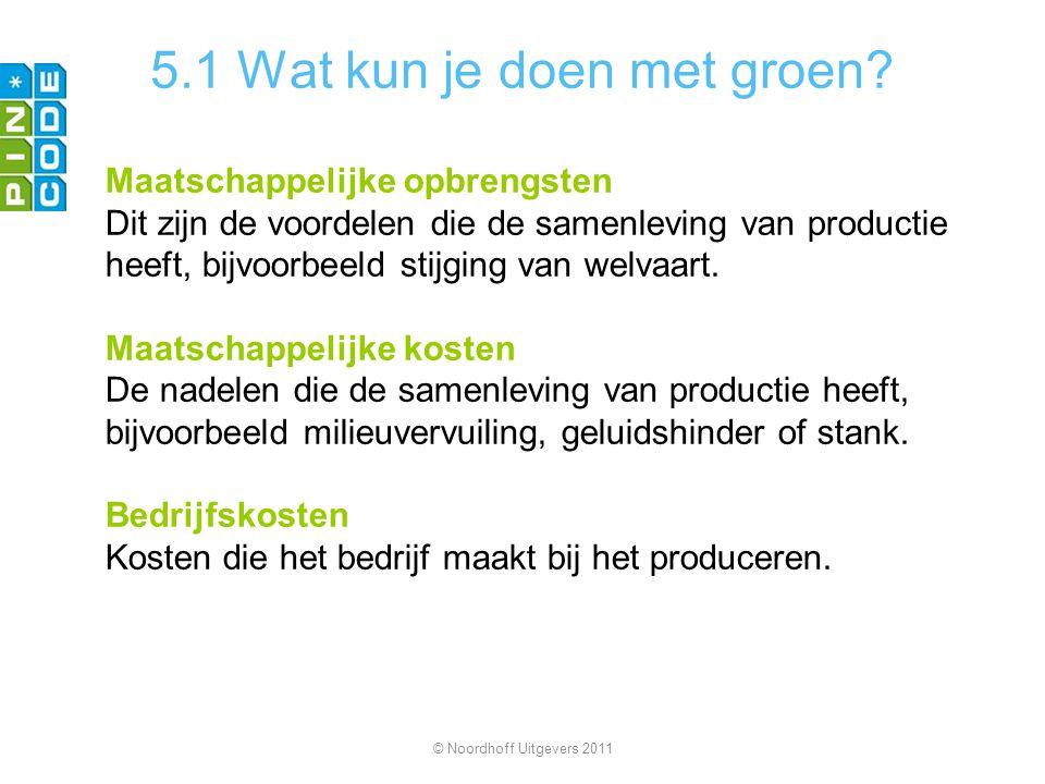 5.1 Wat kun je doen met groen? Maatschappelijke opbrengsten Dit zijn de voordelen die de samenleving van productie heeft, bijvoorbeeld stijging van we