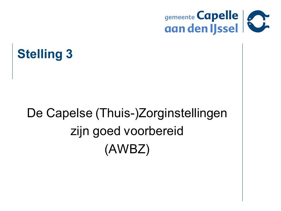 Stelling 3 De Capelse (Thuis-)Zorginstellingen zijn goed voorbereid (AWBZ)