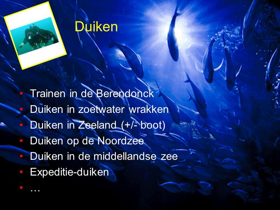 Duiken Trainen in de Berendonck Duiken in zoetwater wrakken Duiken in Zeeland (+/- boot) Duiken op de Noordzee Duiken in de middellandse zee Expeditie