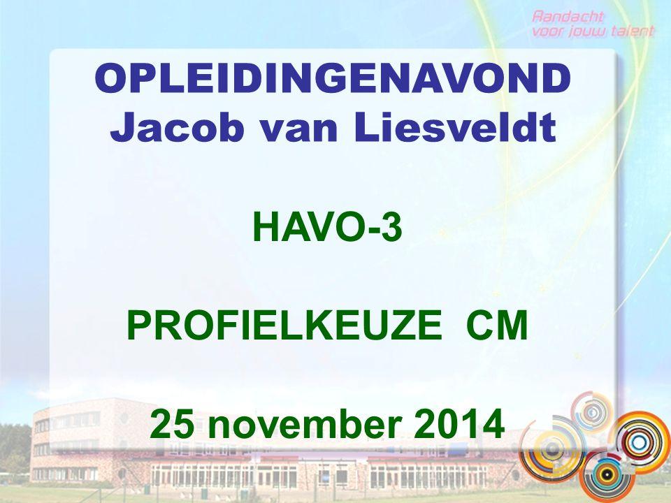 OPLEIDINGENAVOND Jacob van Liesveldt HAVO-3 PROFIELKEUZE CM 25 november 2014