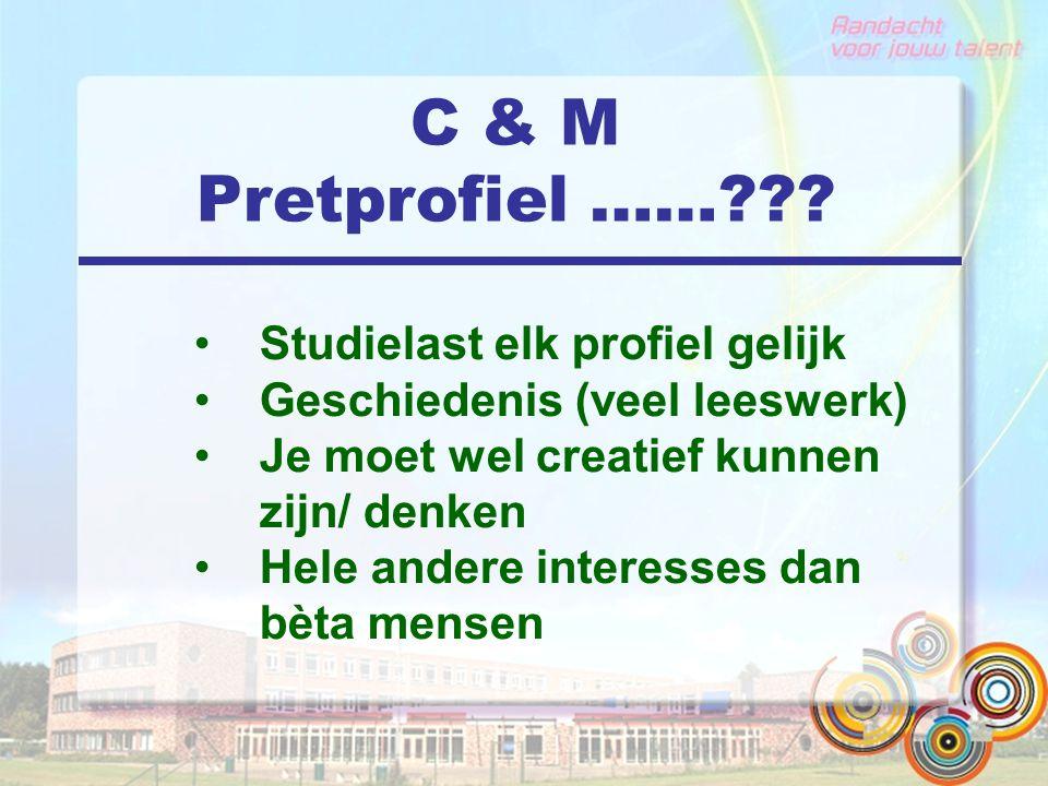 C & M Pretprofiel ……??? Studielast elk profiel gelijk Geschiedenis (veel leeswerk) Je moet wel creatief kunnen zijn/ denken Hele andere interesses dan