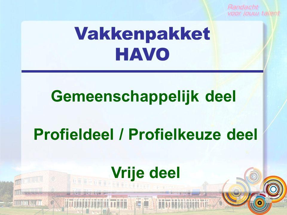 Vakkenpakket HAVO Gemeenschappelijk deel Profieldeel / Profielkeuze deel Vrije deel