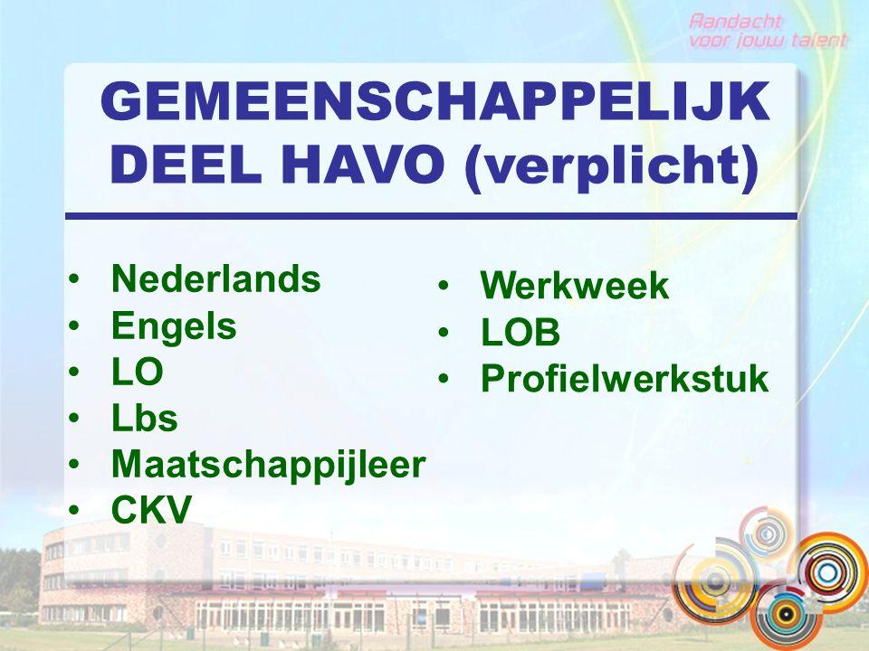 GEMEENSCHAPPELIJK DEEL HAVO (verplicht) Nederlands Engels LO Lbs Maatschappijleer CKV Werkweek LOB Profielwerkstuk