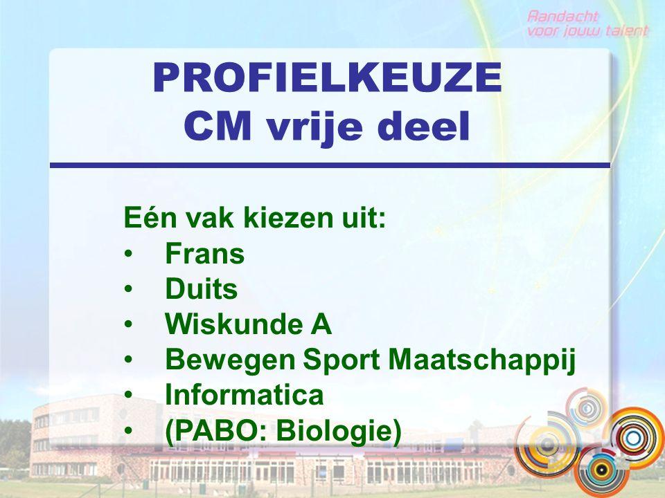 PROFIELKEUZE CM vrije deel Eén vak kiezen uit: Frans Duits Wiskunde A Bewegen Sport Maatschappij Informatica (PABO: Biologie)