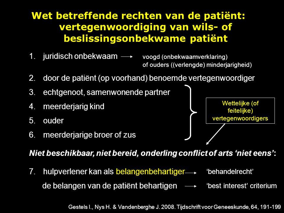 Wet betreffende rechten van de patiënt: vertegenwoordiging van wils- of beslissingsonbekwame patiënt 1.juridisch onbekwaam voogd (onbekwaamverklaring)
