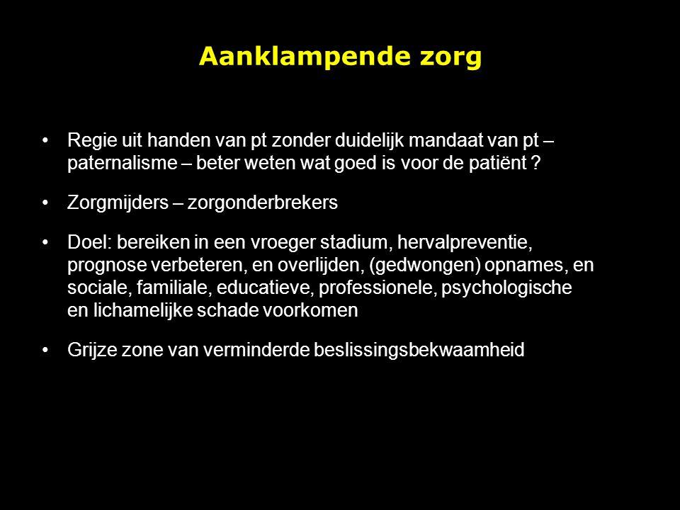 Regie uit handen van pt zonder duidelijk mandaat van pt – paternalisme – beter weten wat goed is voor de patiënt ? Zorgmijders – zorgonderbrekers Doel