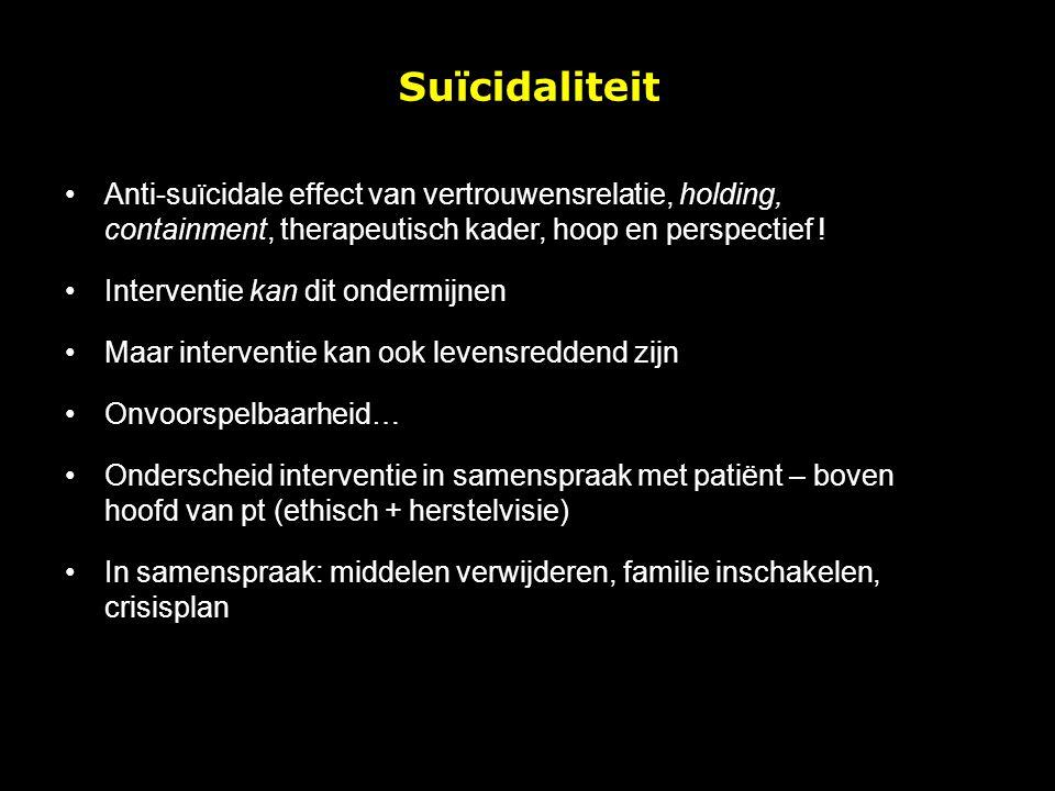 Anti-suïcidale effect van vertrouwensrelatie, holding, containment, therapeutisch kader, hoop en perspectief ! Interventie kan dit ondermijnen Maar in
