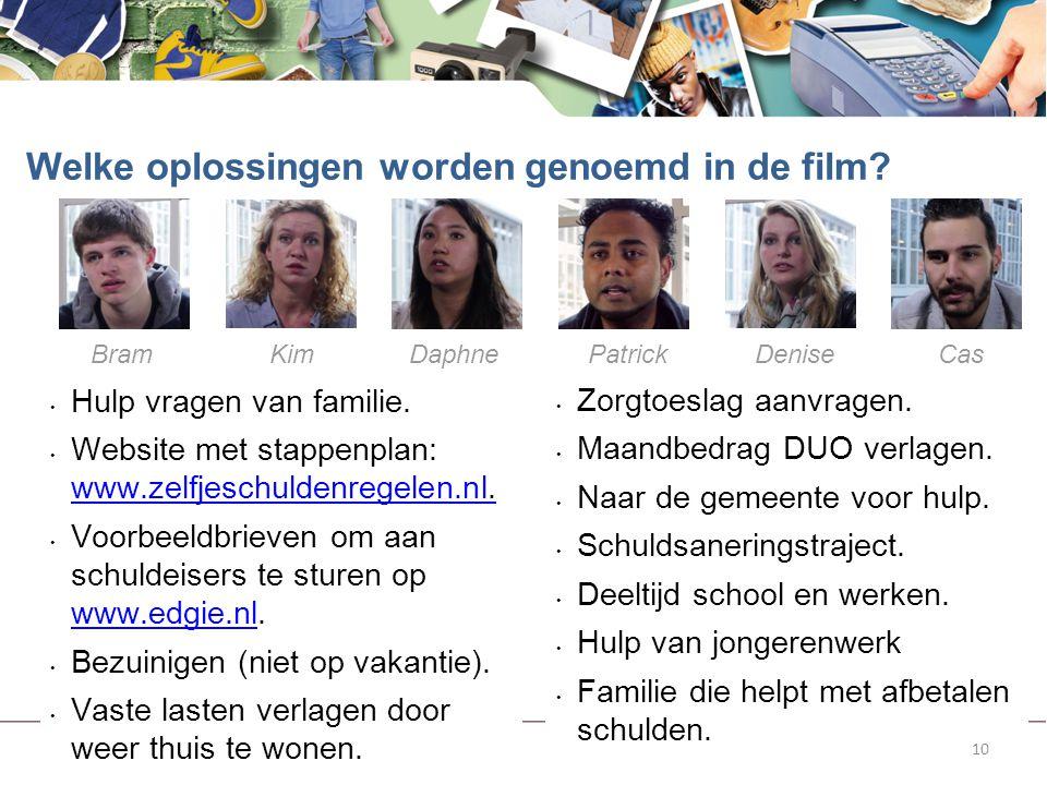 10 Hulp vragen van familie. Website met stappenplan: www.zelfjeschuldenregelen.nl. www.zelfjeschuldenregelen.nl Voorbeeldbrieven om aan schuldeisers t