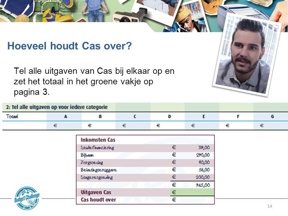14 Tel alle uitgaven van Cas bij elkaar op en zet het totaal in het groene vakje op pagina 3. Hoeveel houdt Cas over?