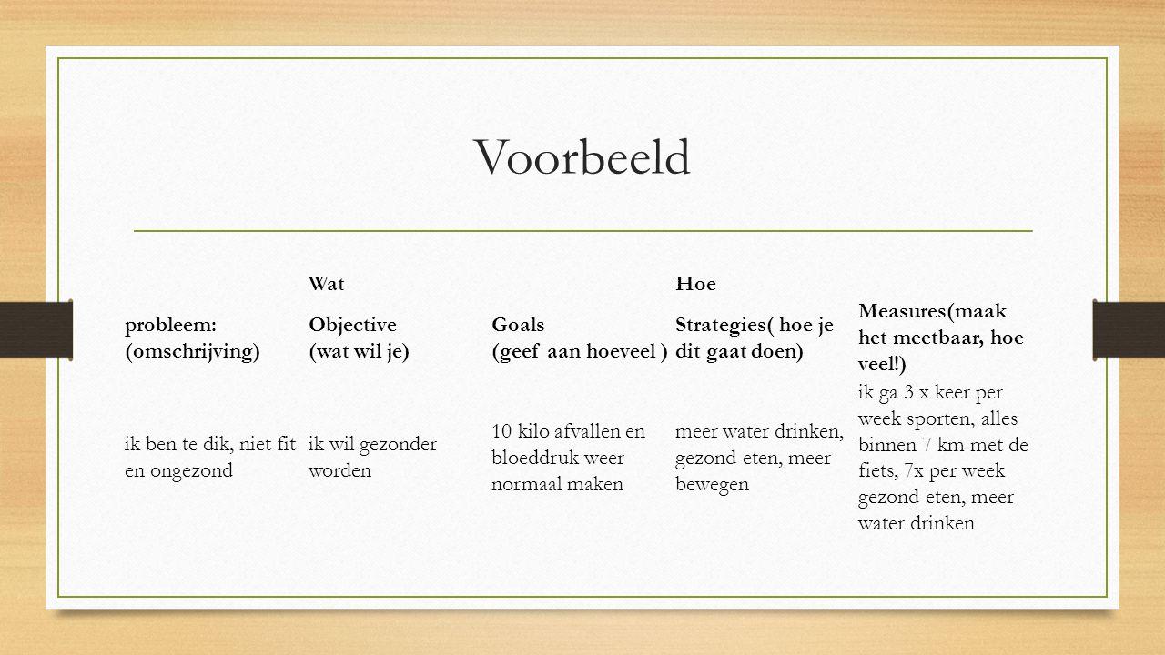 Voorbeeld WatHoe probleem: (omschrijving) Objective (wat wil je) Goals (geef aan hoeveel ) Strategies( hoe je dit gaat doen) Measures(maak het meetbaa