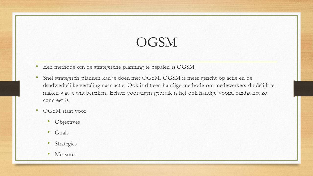 OGSM Een methode om de strategische planning te bepalen is OGSM. Snel strategisch plannen kan je doen met OGSM. OGSM is meer gericht op actie en de da