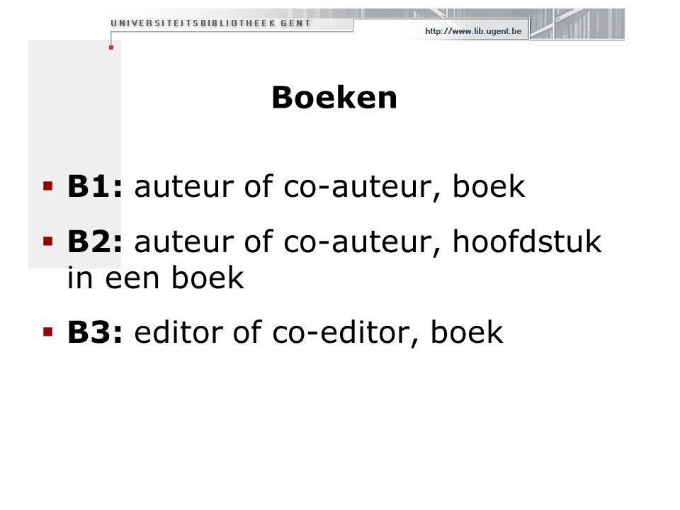 Boeken  B1: auteur of co-auteur, boek  B2: auteur of co-auteur, hoofdstuk in een boek  B3: editor of co-editor, boek