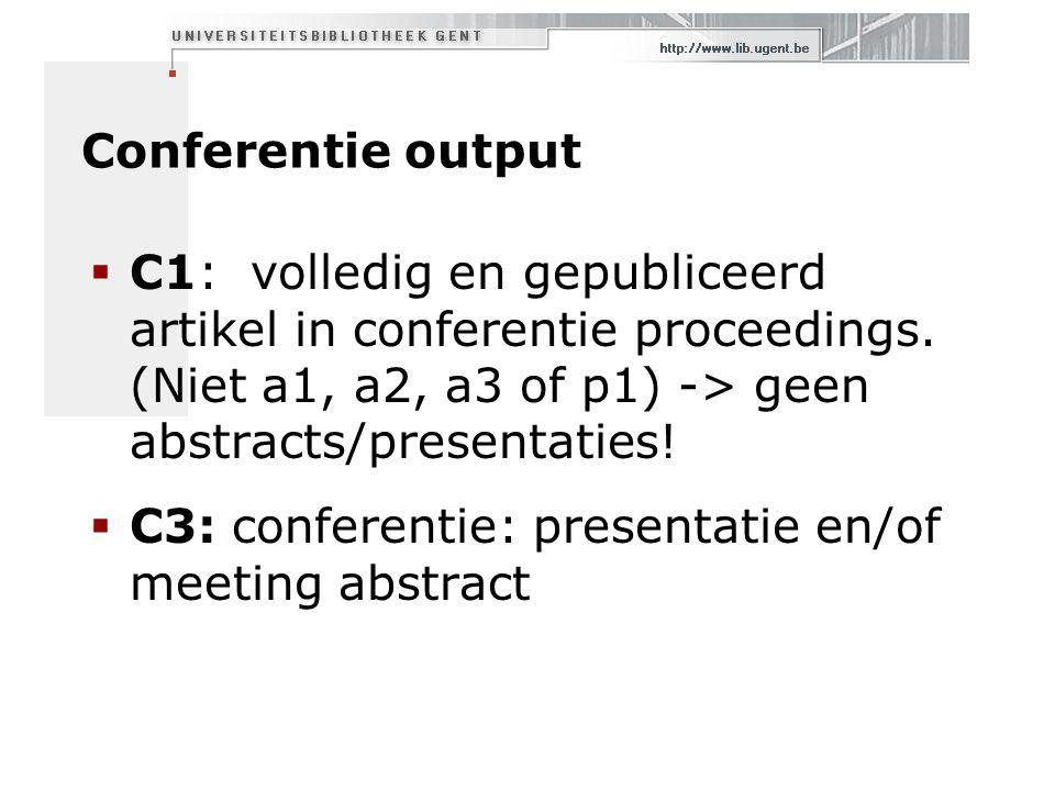 Conferentie output  C1: volledig en gepubliceerd artikel in conferentie proceedings.