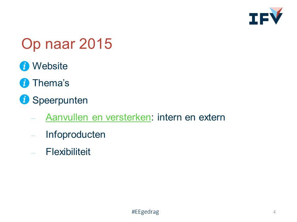  Website  Thema's  Speerpunten ̶ Aanvullen en versterken: intern en extern Aanvullen en versterken ̶ Infoproducten ̶ Flexibiliteit Op naar 2015 4 #EEgedrag
