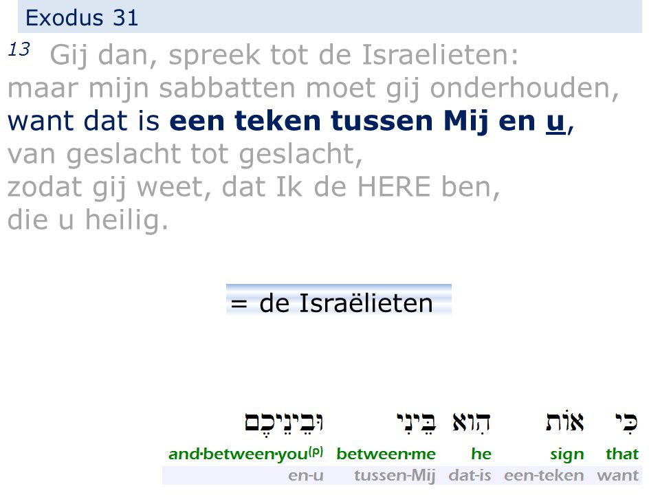 Exodus 31 13 Gij dan, spreek tot de Israelieten: maar mijn sabbatten moet gij onderhouden, want dat is een teken tussen Mij en u, van geslacht tot ges