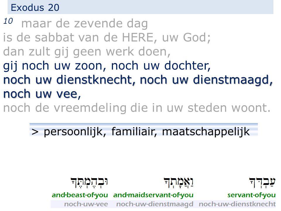 Exodus 20 10 maar de zevende dag is de sabbat van de HERE, uw God; dan zult gij geen werk doen, gij noch uw zoon, noch uw dochter, noch uw dienstknecht, noch uw dienstmaagd, noch uw vee noch uw dienstknecht, noch uw dienstmaagd, noch uw vee, noch de vreemdeling die in uw steden woont.
