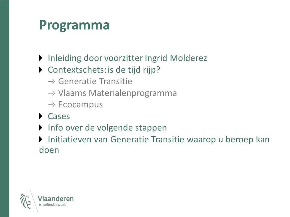 Programma Inleiding door voorzitter Ingrid Molderez Contextschets: is de tijd rijp.