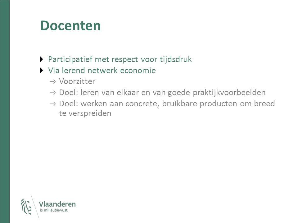 Docenten Participatief met respect voor tijdsdruk Via lerend netwerk economie Voorzitter Doel: leren van elkaar en van goede praktijkvoorbeelden Doel: werken aan concrete, bruikbare producten om breed te verspreiden