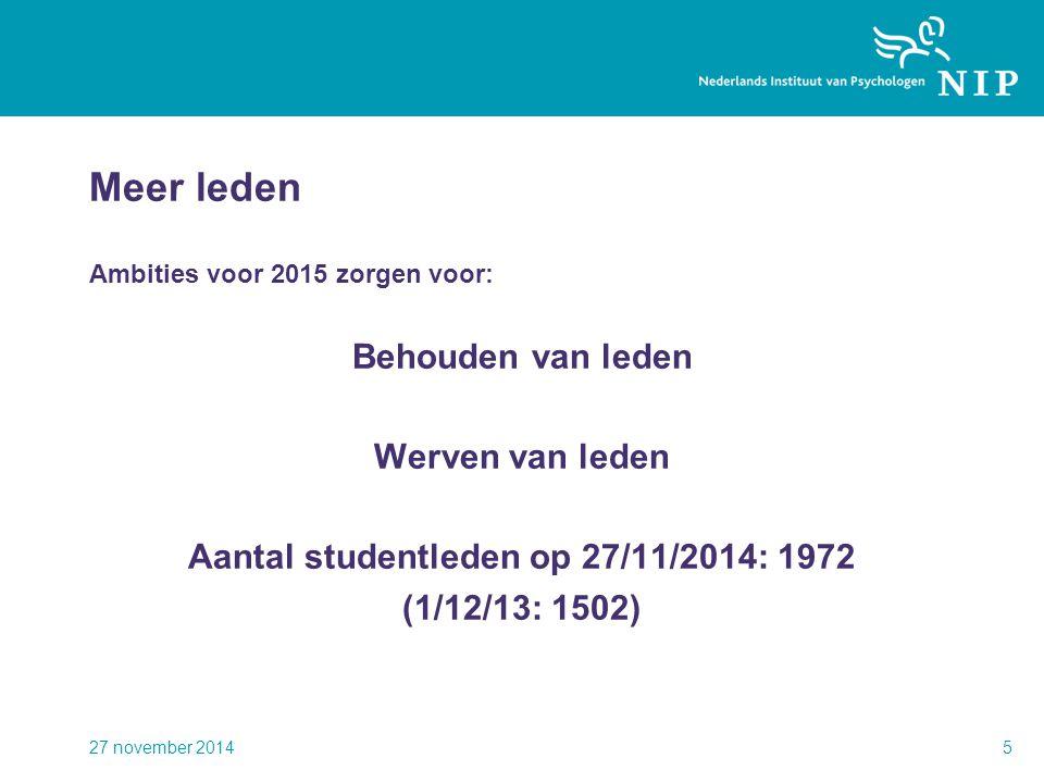 Meer leden Ambities voor 2015 zorgen voor: Behouden van leden Werven van leden Aantal studentleden op 27/11/2014: 1972 (1/12/13: 1502) 27 november 201