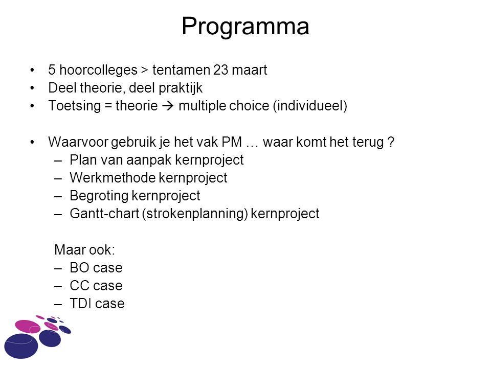 Programma 5 hoorcolleges > tentamen 23 maart Deel theorie, deel praktijk Toetsing = theorie  multiple choice (individueel) Waarvoor gebruik je het vak PM … waar komt het terug .