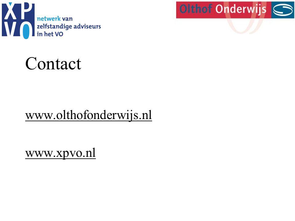 Contact www.olthofonderwijs.nl www.xpvo.nl