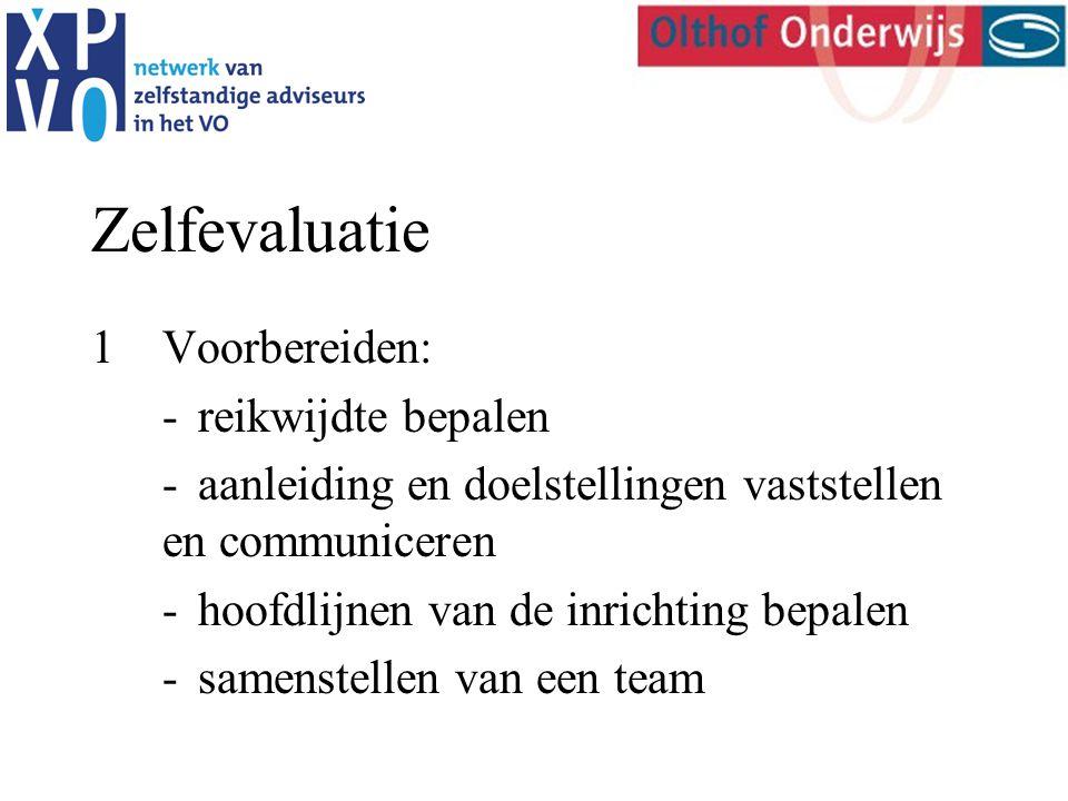 Zelfevaluatie 1Voorbereiden: -reikwijdte bepalen -aanleiding en doelstellingen vaststellen en communiceren -hoofdlijnen van de inrichting bepalen -samenstellen van een team