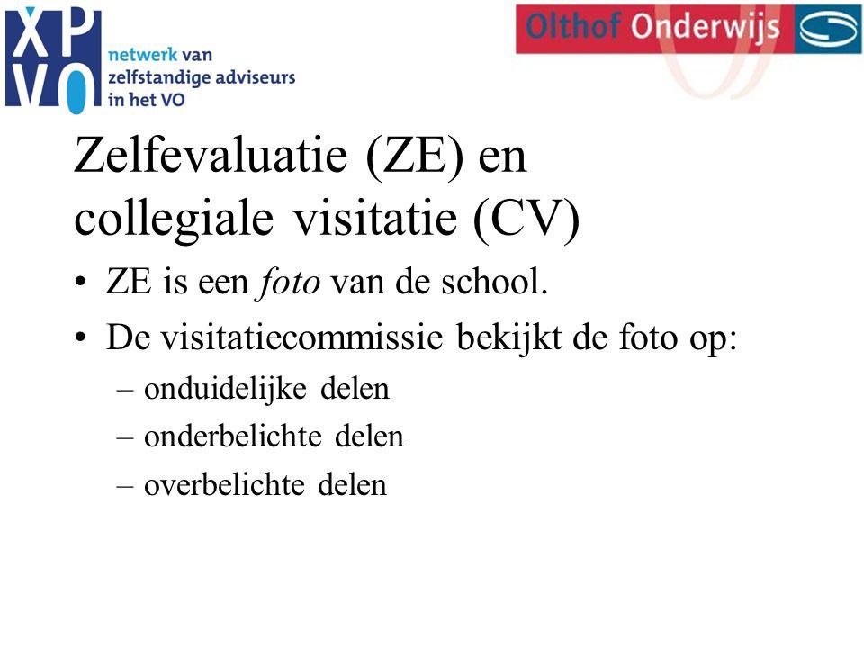 Zelfevaluatie (ZE) en collegiale visitatie (CV) ZE is een foto van de school.