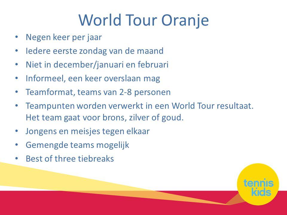 World Tour Oranje Negen keer per jaar Iedere eerste zondag van de maand Niet in december/januari en februari Informeel, een keer overslaan mag Teamformat, teams van 2-8 personen Teampunten worden verwerkt in een World Tour resultaat.