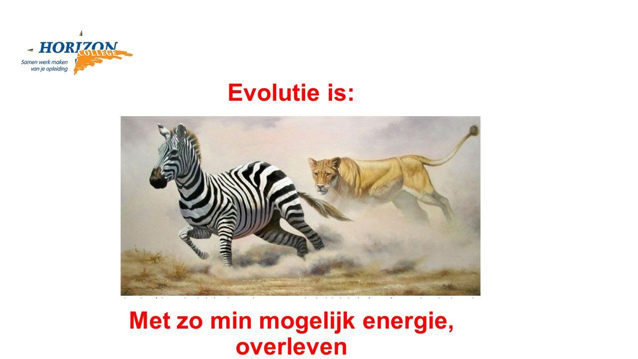 Met zo min mogelijk energie, overleven Evolutie is:
