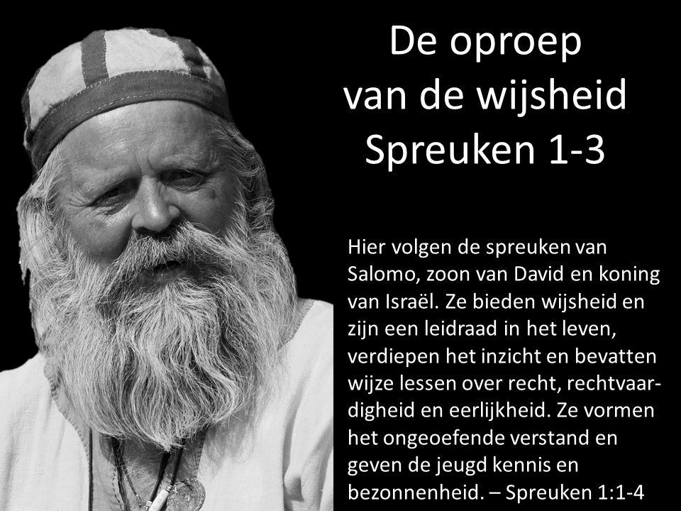 De oproep van de wijsheid Spreuken 1-3 Hier volgen de spreuken van Salomo, zoon van David en koning van Israël. Ze bieden wijsheid en zijn een leidraa