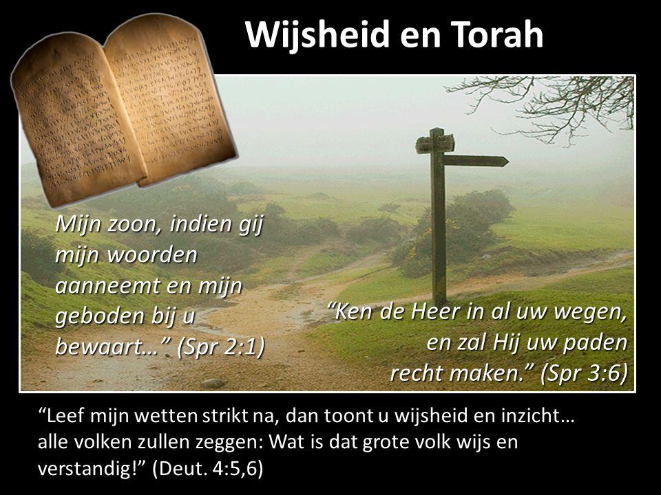 """Wijsheid en Torah """"Leef mijn wetten strikt na, dan toont u wijsheid en inzicht… alle volken zullen zeggen: Wat is dat grote volk wijs en verstandig!"""""""